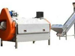 Technological line for complete processing raw vegetable to
