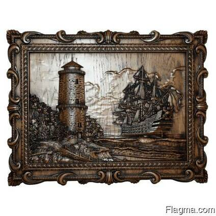 """Carved panel – """"Lighthouse"""""""
